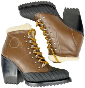 Chloé Leather Sheepshearling Italy True Brown Boots