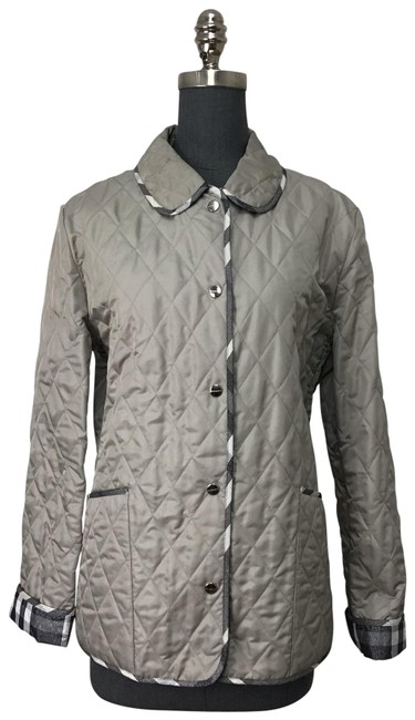 Item - Taupe/ Metallic Classic Quilted with Trims Jacket Size 8 (M)