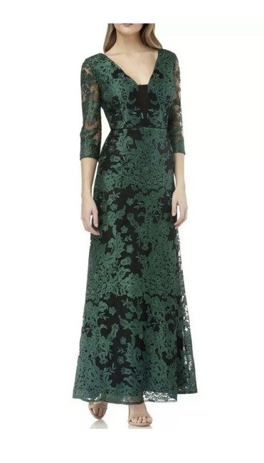 Item - Hunter Green Embroidered Lace Gown Long Formal Dress Size 6 (S)