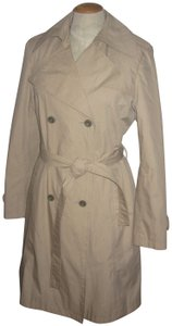 Via Spiga Shoulder Epaulets Metal Buttons Back Pleat Nylon Satin Lining Trench Coat