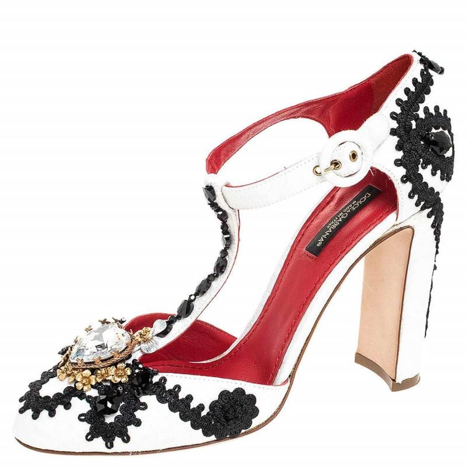 Dolce&Gabbana White WhiteBlack Brocade Embellished Leather T strap Pumps Size EU 37.5 (Approx. US 7.5) Regular (M, B) 27% off retail