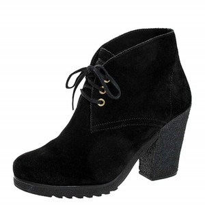 Prada Suede Leather Ankle Lace Black Boots