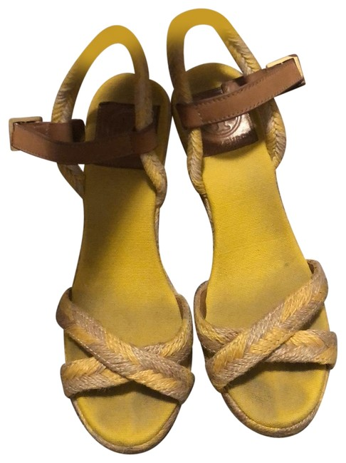 Item - Yellow with Brown Leather Strap Wedges Size US 8.5 Regular (M, B)