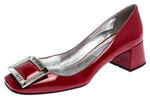 Prada Patent Leather Crystal Leather Red Pumps