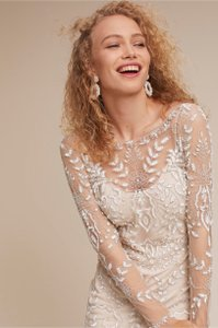 BHLDN Champagne Beyond The Sea Feminine Wedding Dress Size 6 (S)