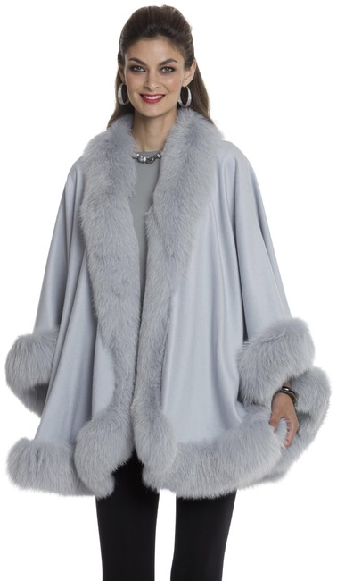 Item - Powder Blue Fox Trimmed Cashmere Your Lady Poncho/Cape Size OS (one size)