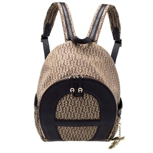 Etienne Aigner Signature Canvas Leather Detail Backpack