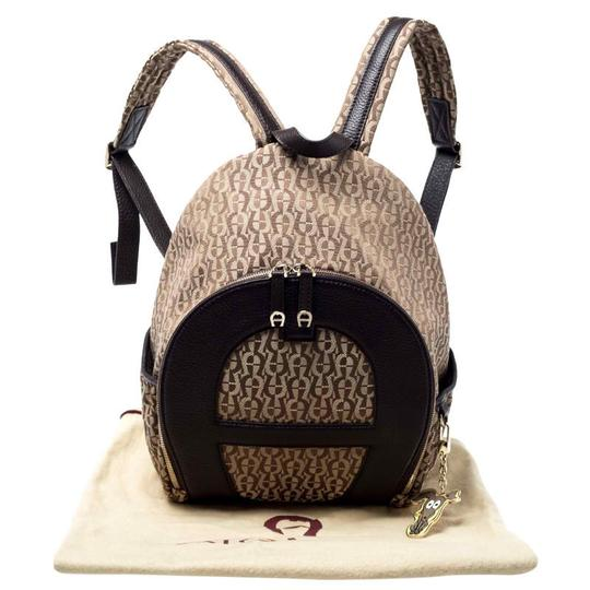 Etienne Aigner Signature Canvas Leather Detail Backpack Image 11