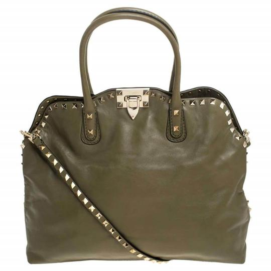 Valentino Canvas Leather Rockstud Satchel in Green Image 0