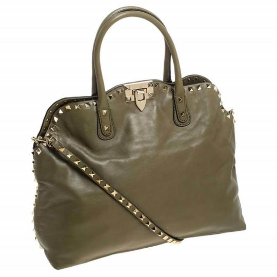 Valentino Canvas Leather Rockstud Satchel in Green Image 3