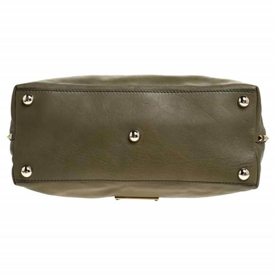 Valentino Canvas Leather Rockstud Satchel in Green Image 4