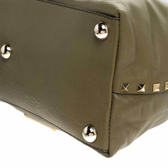 Valentino Canvas Leather Rockstud Satchel in Green Image 5