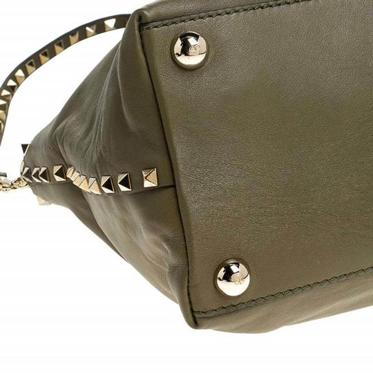 Valentino Canvas Leather Rockstud Satchel in Green Image 7