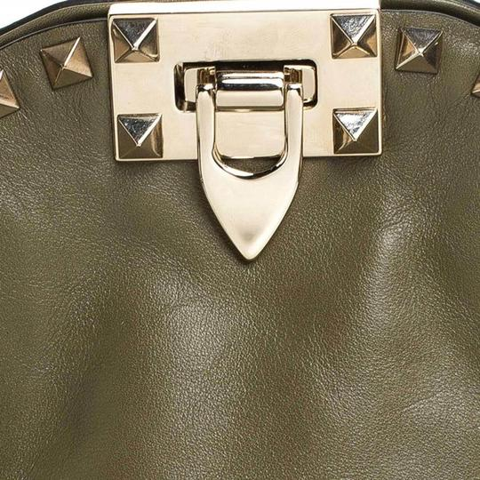Valentino Canvas Leather Rockstud Satchel in Green Image 9