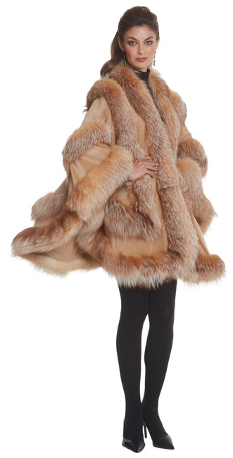 Preload https://img-static.tradesy.com/item/26471446/camel-and-crystal-empress-fox-fur-trimmed-cashmere-wrap-ponchocape-size-os-one-size-0-1-650-650.jpg