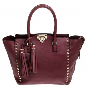 Valentino Leather Rockstud Tote in Red