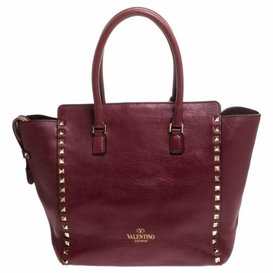 Valentino Leather Rockstud Tote in Red Image 1