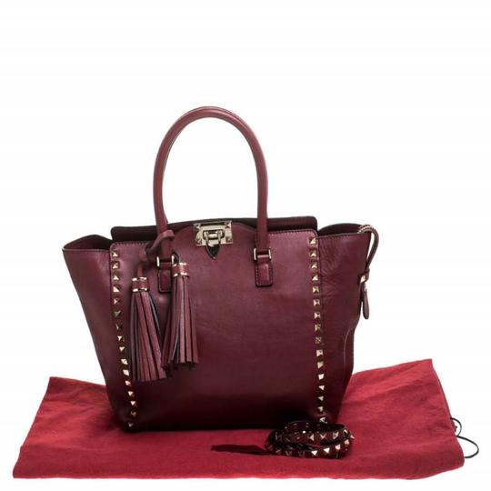 Valentino Leather Rockstud Tote in Red Image 10