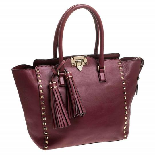 Valentino Leather Rockstud Tote in Red Image 3