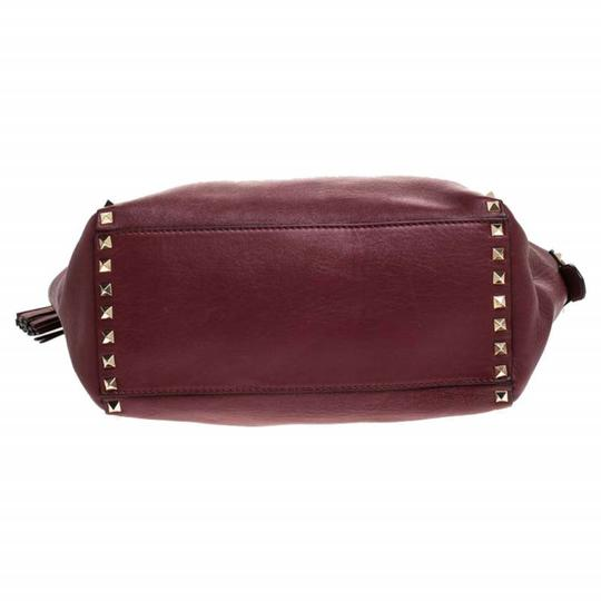 Valentino Leather Rockstud Tote in Red Image 4