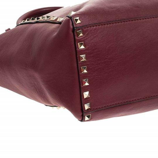 Valentino Leather Rockstud Tote in Red Image 5