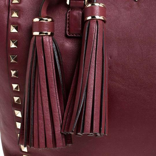 Valentino Leather Rockstud Tote in Red Image 8