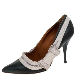 Lanvin Leather Canvas Pointed Toe Grey Pumps