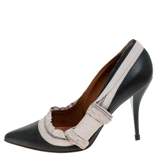 Lanvin Leather Canvas Pointed Toe Grey Pumps Image 1