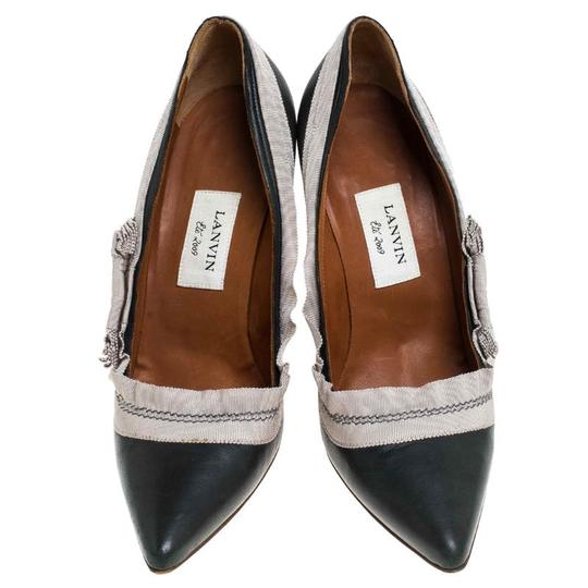 Lanvin Leather Canvas Pointed Toe Grey Pumps Image 2