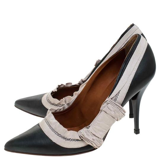 Lanvin Leather Canvas Pointed Toe Grey Pumps Image 3