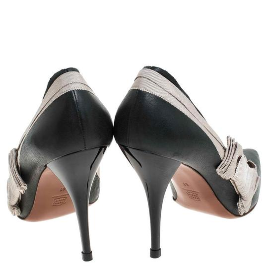 Lanvin Leather Canvas Pointed Toe Grey Pumps Image 4