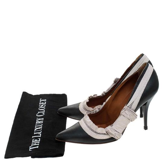 Lanvin Leather Canvas Pointed Toe Grey Pumps Image 7