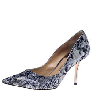 Paul Andrew Metallic Two-tone Pointed Toe Stiletto Leather Silver Pumps