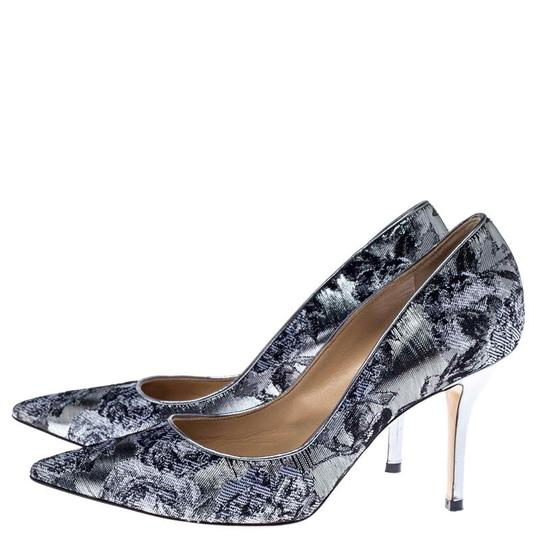 Paul Andrew Metallic Two-tone Pointed Toe Stiletto Leather Silver Pumps Image 3