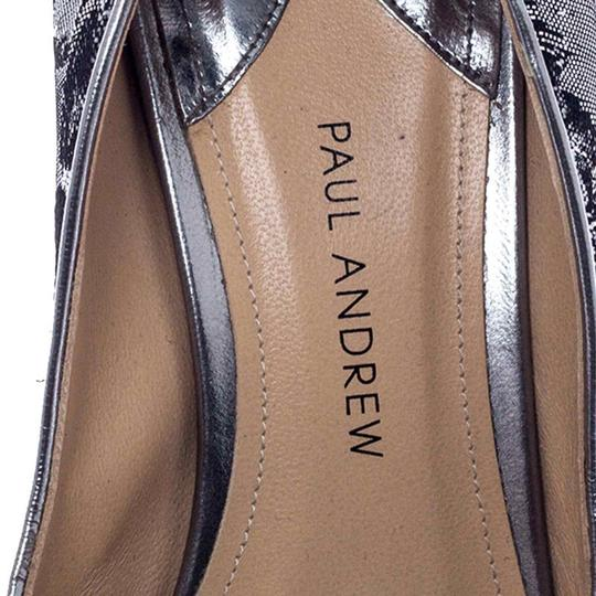 Paul Andrew Metallic Two-tone Pointed Toe Stiletto Leather Silver Pumps Image 6
