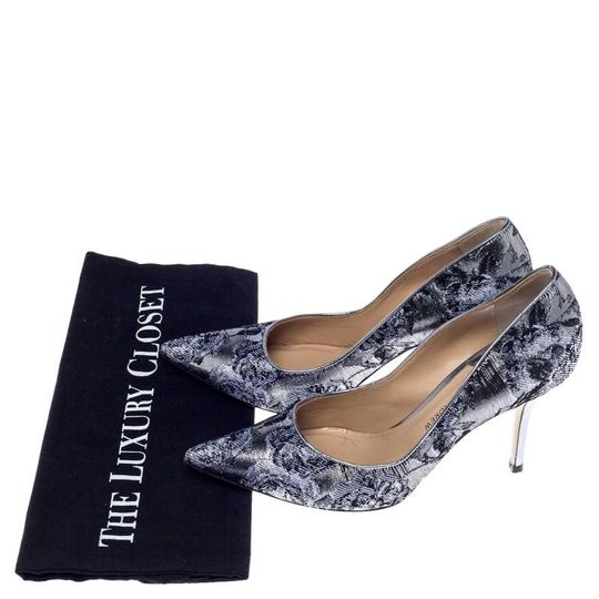 Paul Andrew Metallic Two-tone Pointed Toe Stiletto Leather Silver Pumps Image 7