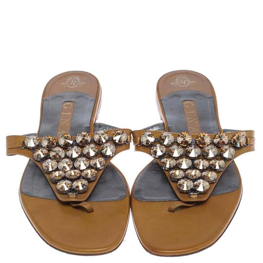Gina Peters Patent Leather Studded Crystal Yellow Flats Image 2