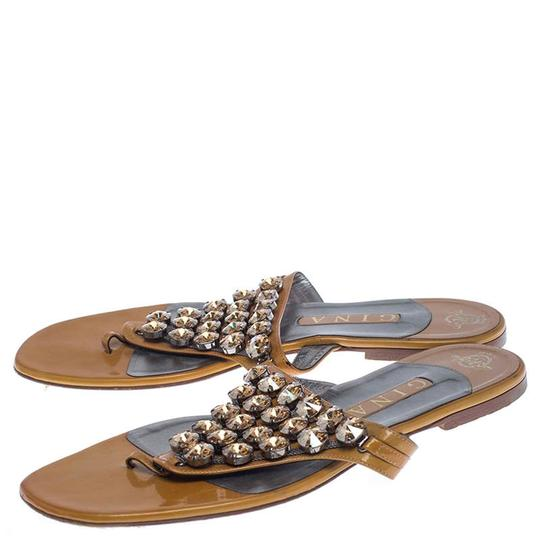 Gina Peters Patent Leather Studded Crystal Yellow Flats Image 4