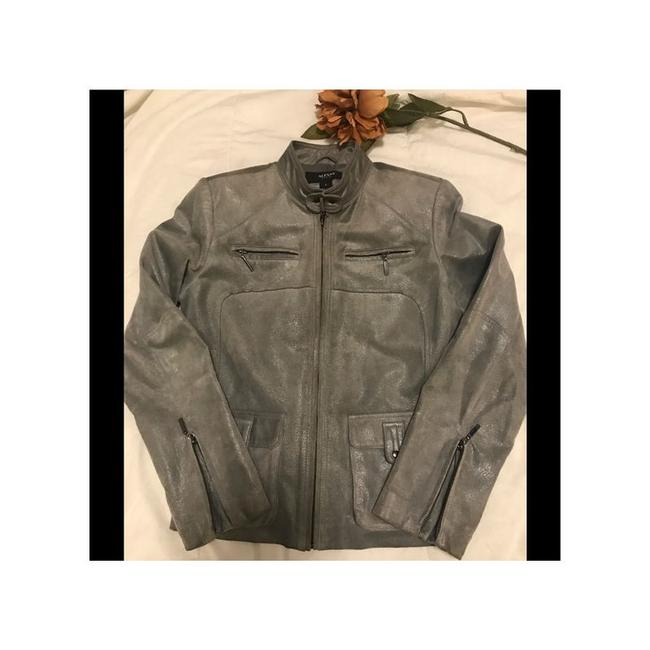 Alfani Gray Shimmery Leather Moto Coats Sp Jacket Size Petite 4 (S) Alfani Gray Shimmery Leather Moto Coats Sp Jacket Size Petite 4 (S) Image 1