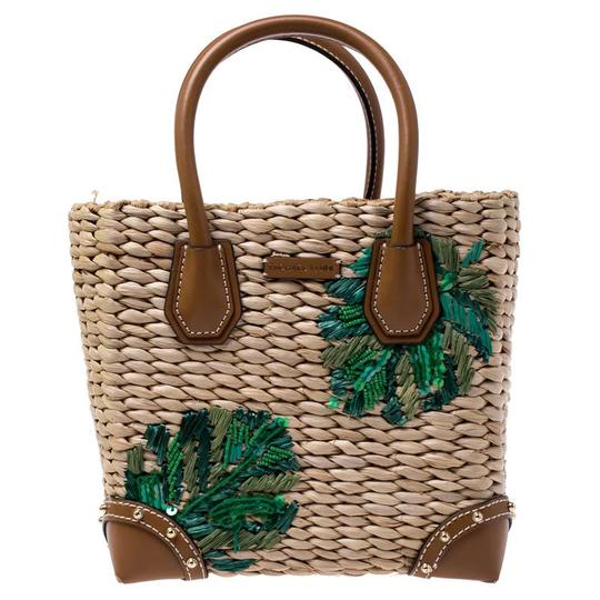Preload https://img-static.tradesy.com/item/26471519/michael-kors-browngreen-malibu-brown-straw-and-leather-tote-0-0-540-540.jpg