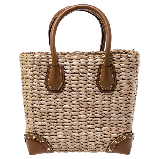 Michael Kors Leather Embroidered Beaded Tote in Brown Image 1