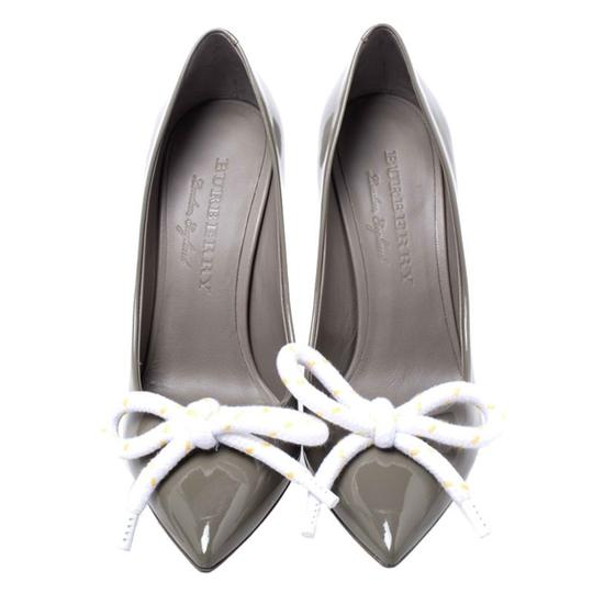 Burberry Patent Leather Pointed Toe Leather Grey Pumps Image 1