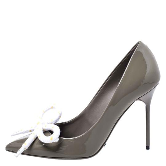 Burberry Patent Leather Pointed Toe Leather Grey Pumps Image 3