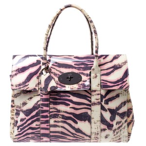 Mulberry Leather Suede Print Patent Leather Satchel in Multicolor