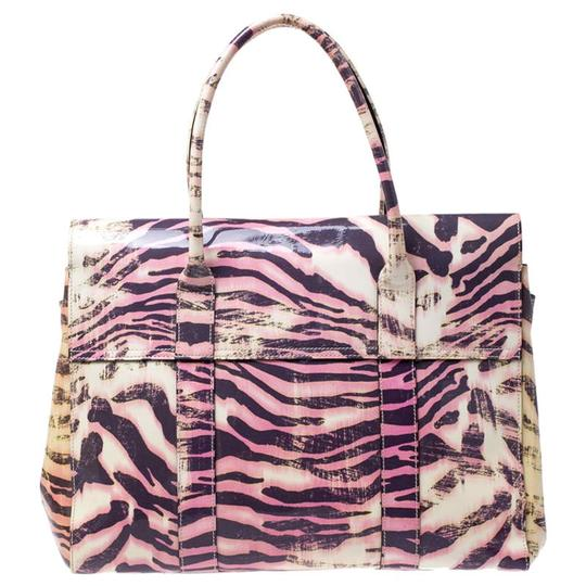 Mulberry Leather Suede Print Patent Leather Satchel in Multicolor Image 1