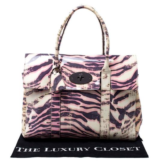 Mulberry Leather Suede Print Patent Leather Satchel in Multicolor Image 11
