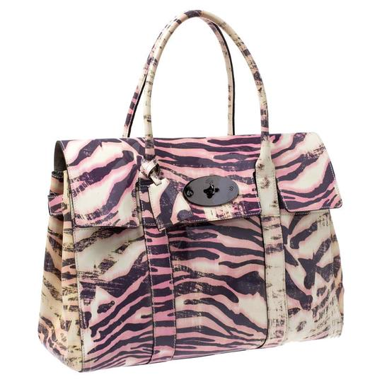 Mulberry Leather Suede Print Patent Leather Satchel in Multicolor Image 3