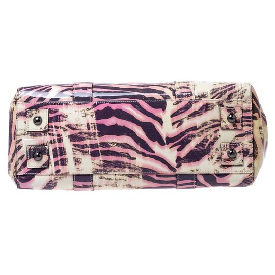 Mulberry Leather Suede Print Patent Leather Satchel in Multicolor Image 4
