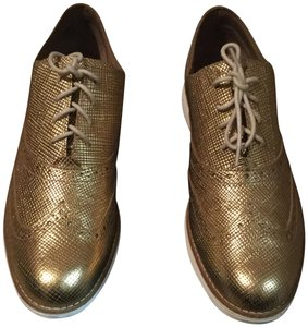 Cole Haan Metallic Oxford Gold Flats