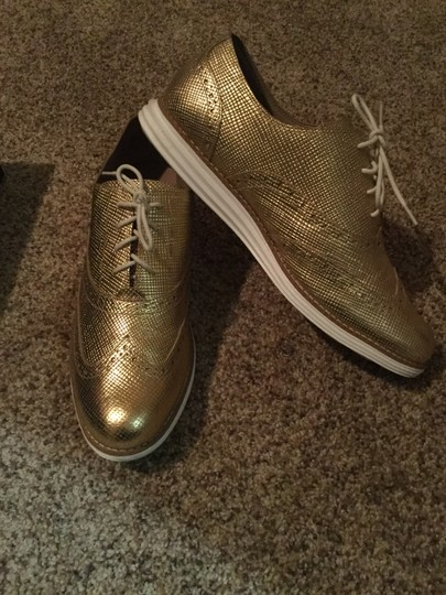 Cole Haan Metallic Oxford Gold Flats Image 4